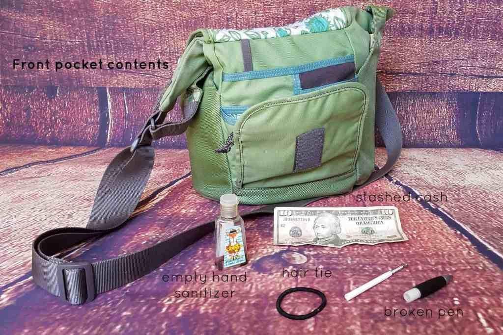 20 Days of Me - Day 5 - What's in your purse? The front pocket is rarely used so it's always a surprise to see what's hiding inside.