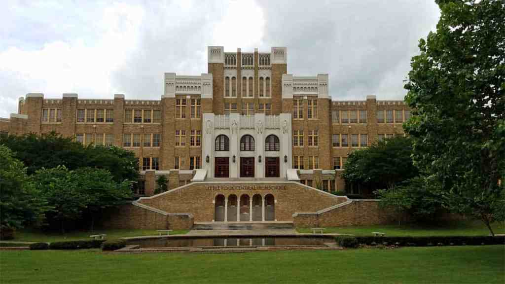 A peaceful scene looking at Little Rock Central High School