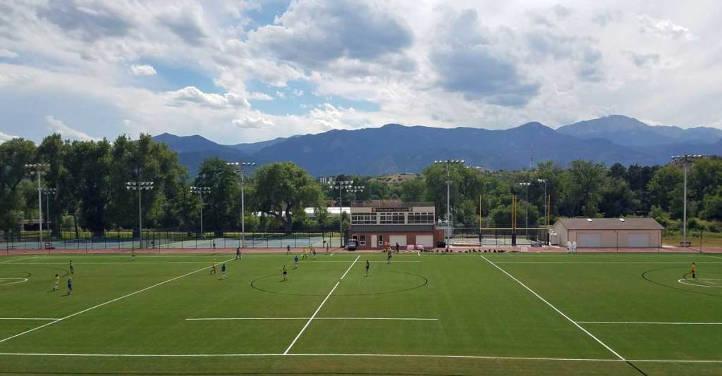 A soccer field with a view... soccer camp at Colorado College with Pikes Peak in the background