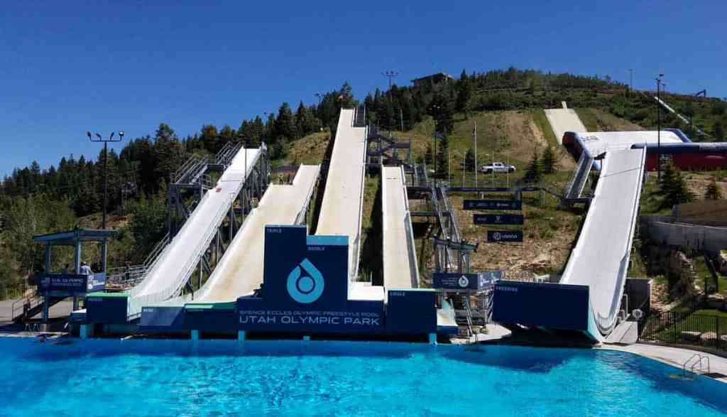 Several slopes end in the pool at Utah Olympic Park