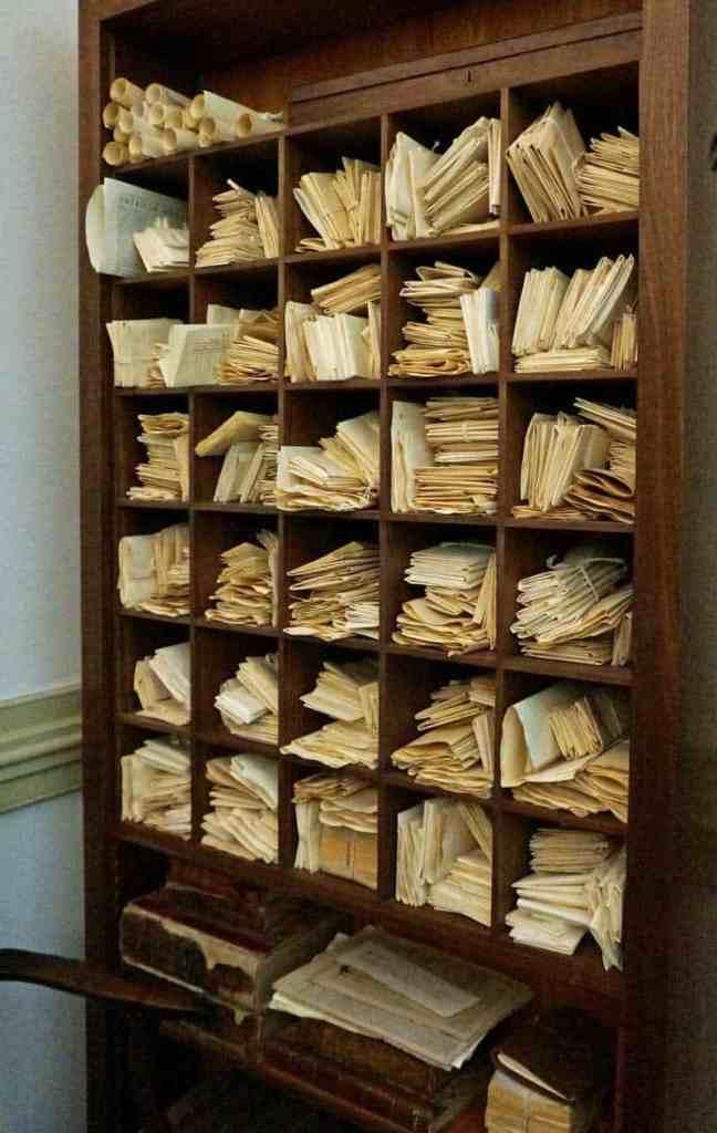 Bookshelf full of letters written by President James Madison