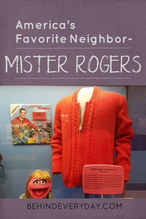 An image to share on Pinterest showing Mister Rogers' cardigan on display at the Smithsonian museum in Washington, DC