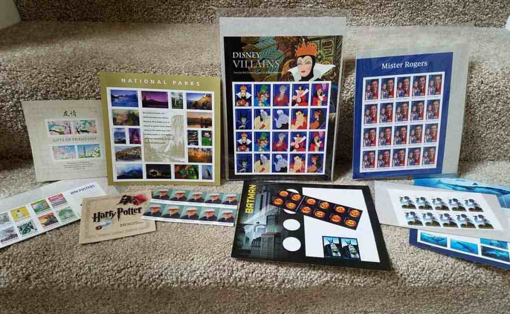 stamp collection of forever stamps including Disney Villains, Harry Potter, National Parks, and Mister Rogers