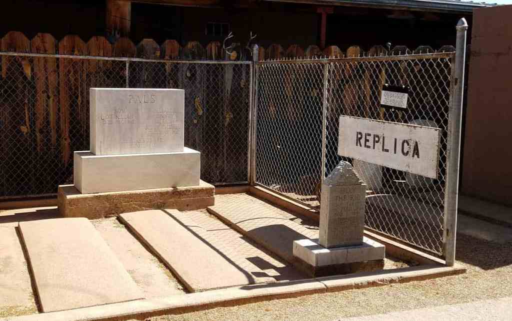 A replica of Billy the Kid's grave inside the Billy the Kid museum