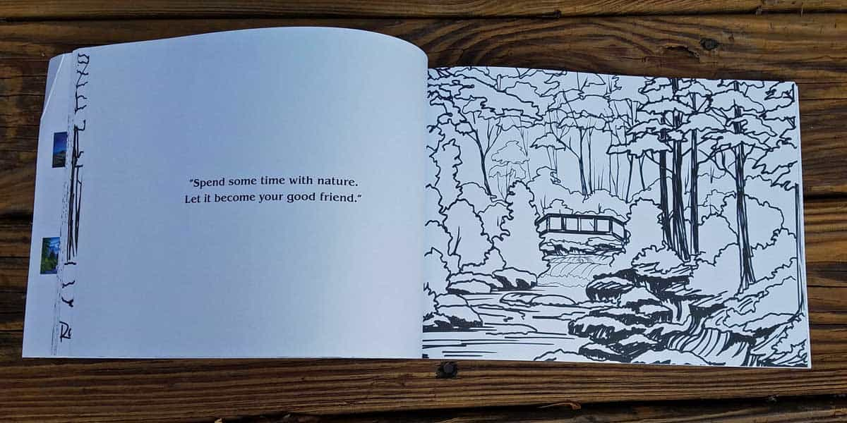 "inside page of Bob Ross coloring book with a quote on the left facing page ""Spend some time with nature. Let it become your good friend."" and an outline of a forest scene with a creek and a bridge on the right facing page"