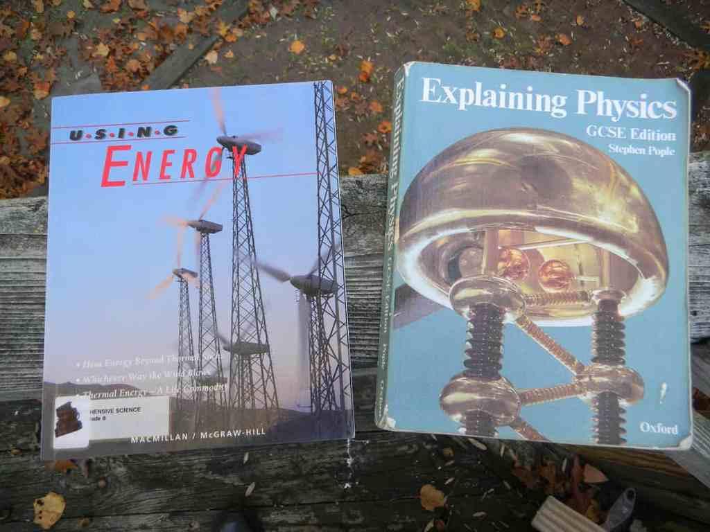 Photo of two science textbooks- Using Energy and Explaining Physics