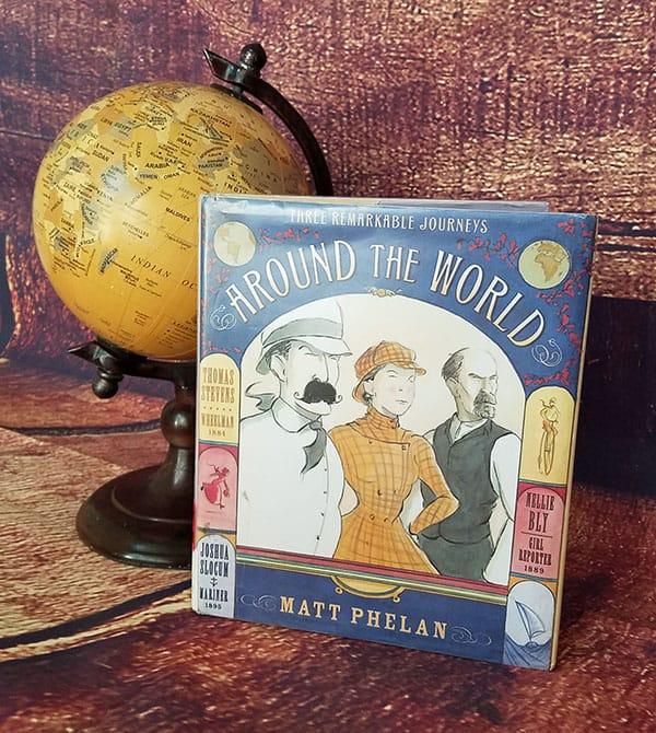 globe and book cover- Around the World