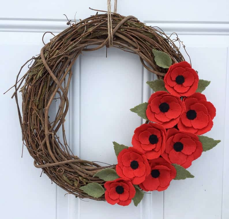poppy door wreath made by AnitaRexDesigns