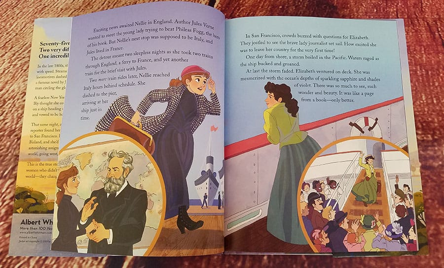 Interior page of Race Around the World showing Nellie Bly and Elisabeth Bisland departing by ship