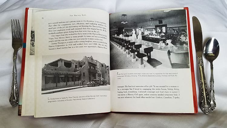 interior page of The Harvey Girls book shows text and picture of waitresses in the restaurant