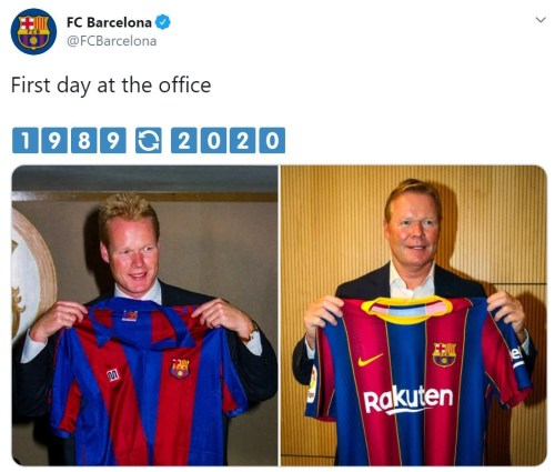 FC Barcelona's announcement of Ronald Koeman on social