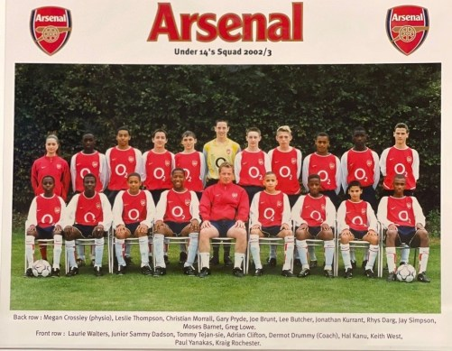 Thomas in Arsenal's Under 14's squad.