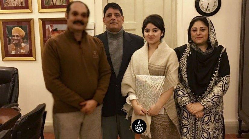 Zaira Wasim With her father Zahid Wasim and her mother Zarqa Wasim