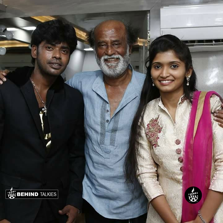 Dance master sandy and his wife with Super Star Rajinikanth