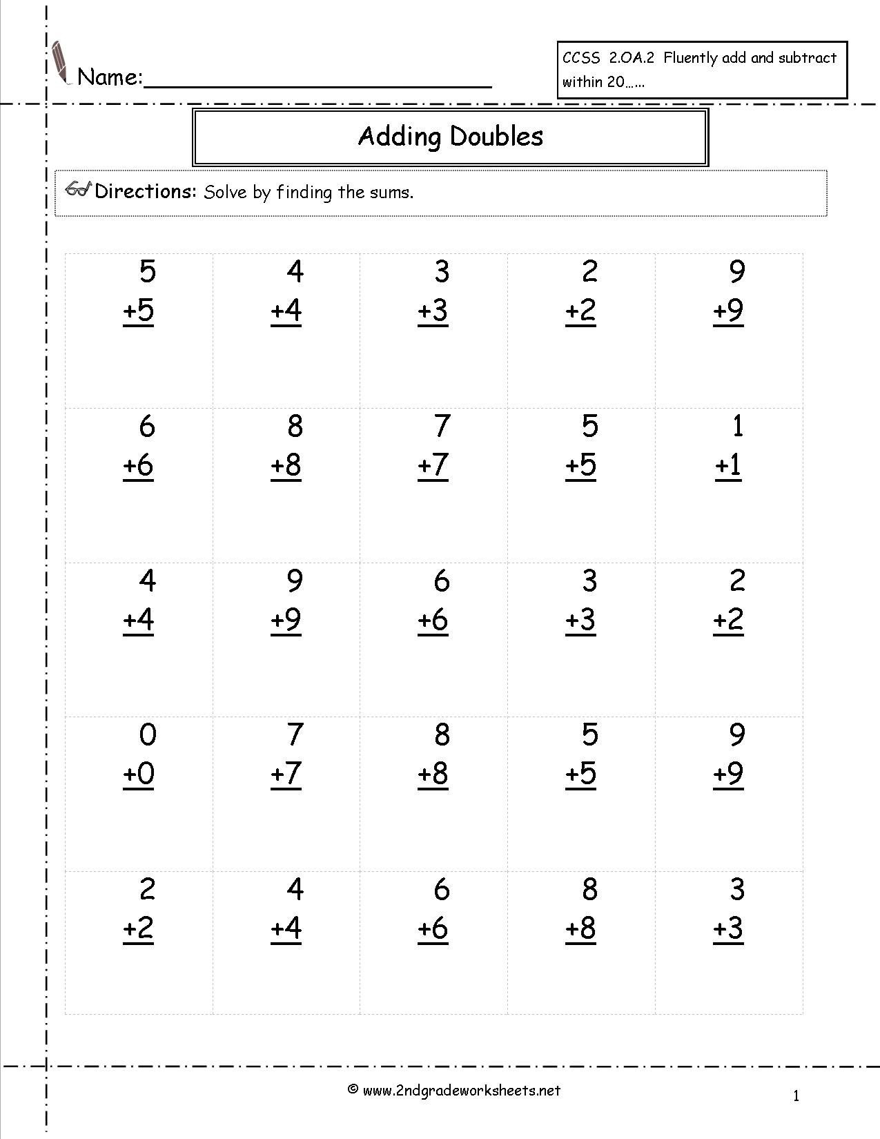 Doubles Math Facts Worksheet Doubling Addition Education