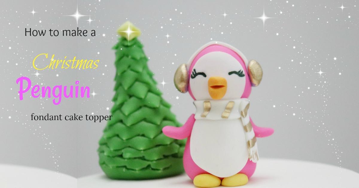 Behind the cake - Pink fondant penguin figurine cake topper