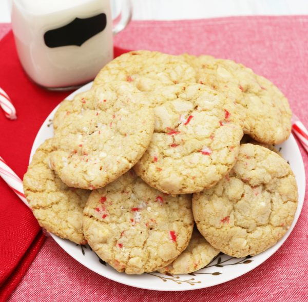 behind the cake - white chocolate peppermint cookies with candy cane pieces.