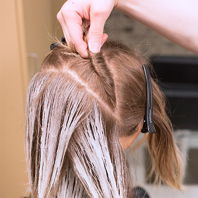 balayage hair working in triangular sections