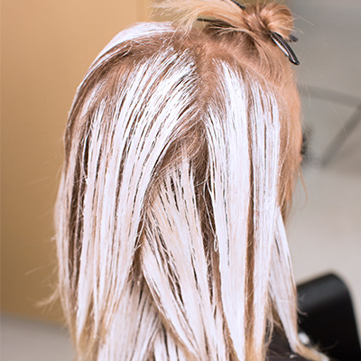 blonde hair with balayage painted on hair