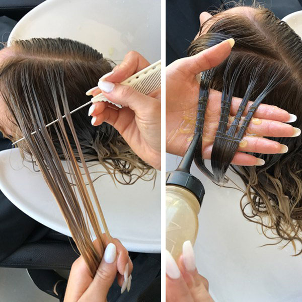 toning hair at the bowl