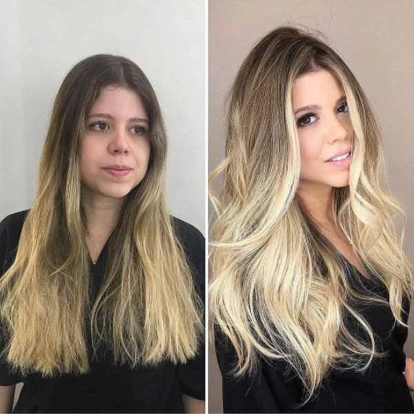 Blonde balayage transformation with curling iron waves by @marcelocammpos