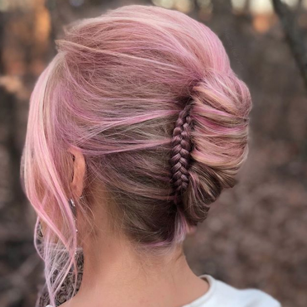 French Twist With Accent Braid and Soft Pink Color Formula By Annette Updo Artist