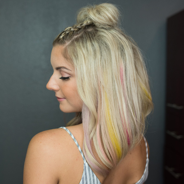 Finished look using hairtalk extensions and pops of color step by step photos