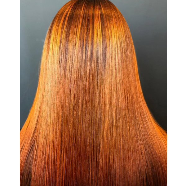 Matt Swinney mixed copper, gold and red to create this on-fire formula using LANZA Healing Haircare.