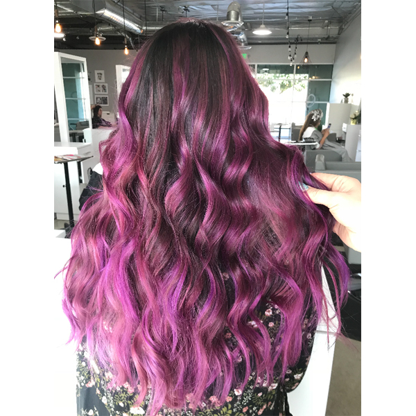 Vibrant Pink Balayage Using SOCOLOR Cult and created by @Michellehair