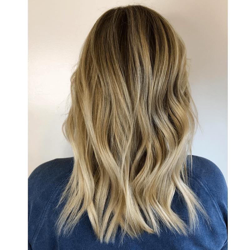 balayage blonde @prettylittleombre painting technique allie villa wellaplex color formulas