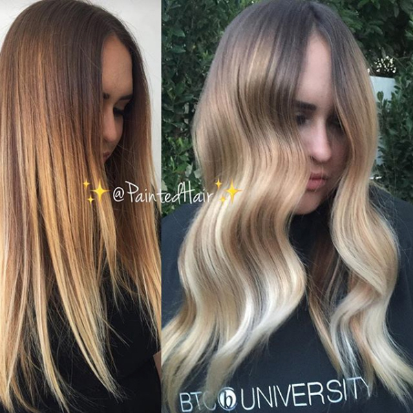 @paintedhair the perfect money piece hair painting tutorial before and after photo