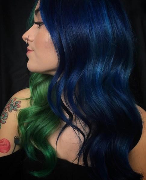 dark blue fashion hair color by @korimtemkin