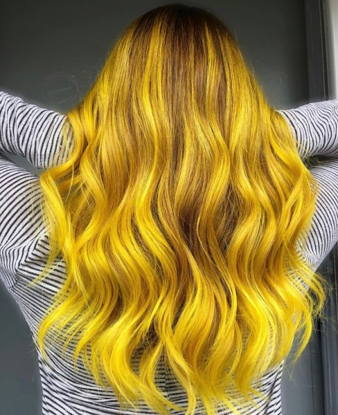 yellow fashion hair color - gold hair color by @supvalerie
