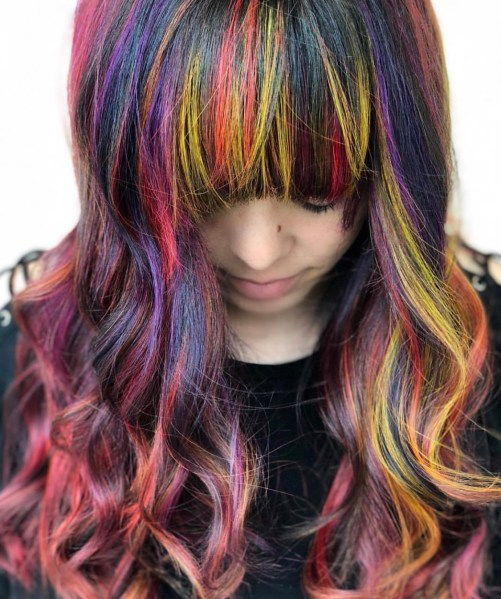 rainbow fashion hair color with bangs by @deathbycouture