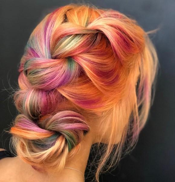 pastel rainbow fashion hair color braid by @stephhstyles
