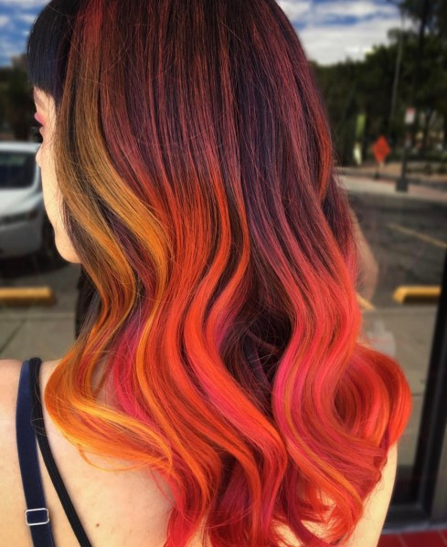 fire red fashion hair color by @korimtemkin