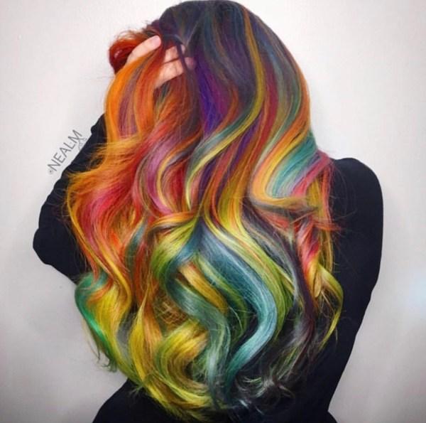 rainbow fashion hair color by @nealmhair