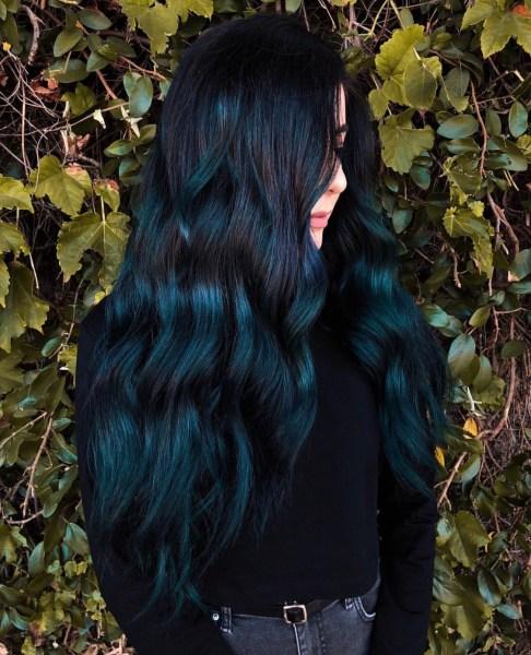 blue green fashion color long hair by @chellsiedanielle