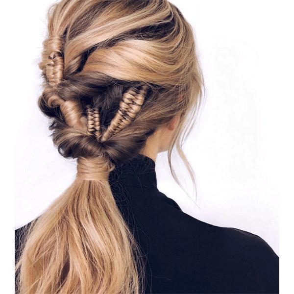 braids, blonde, ponytail