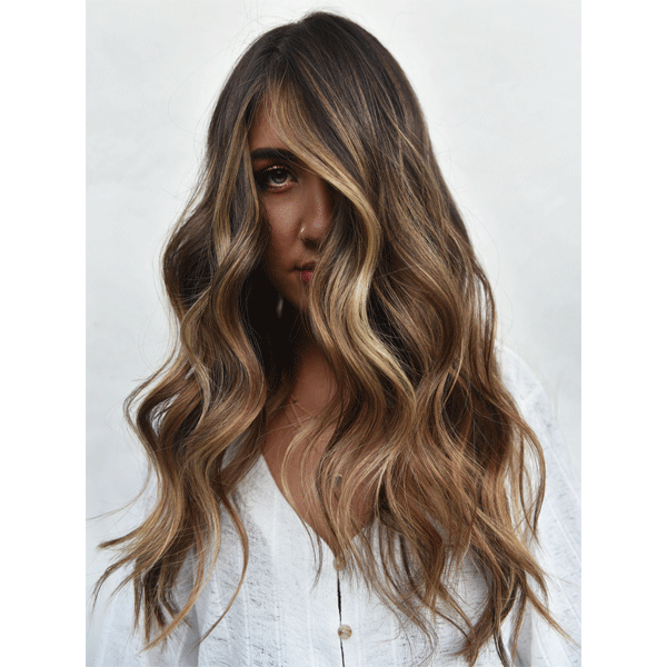 long hair, balayage, brunette