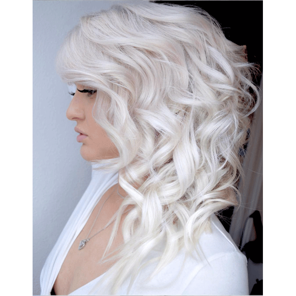 platinum hair, curls, white hair, blonde