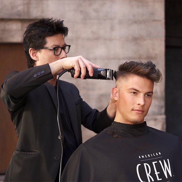 American Crew Paul Wilson @paulwilsoncrew Pompadour Fade How To Step By Step Men's Haircut Barbering Men's Styling
