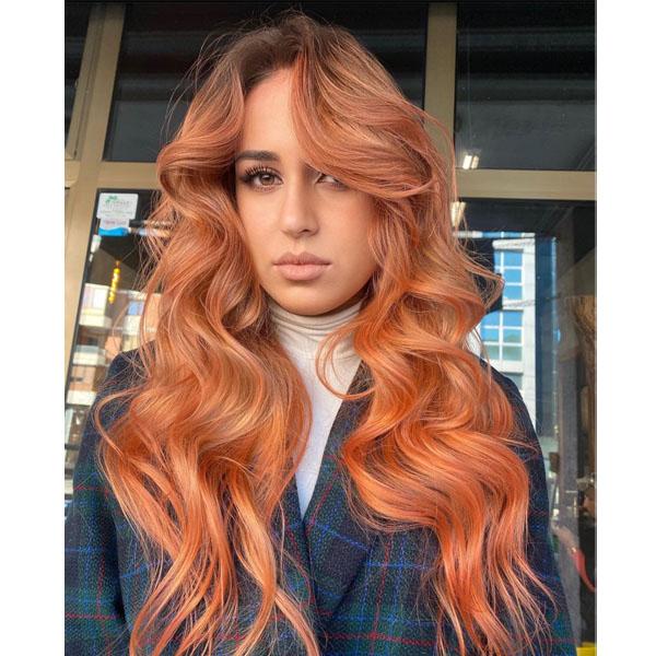 Peach Orange Rosy Color Formula Metallic Bronze Wella Professional @energy.hair Lirim Lulaj