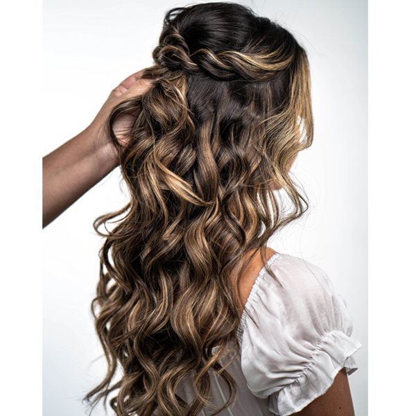 Boho Half Up Twisted Bridal Style With Hotheads Tape In Extensions How To Step By Step Chanel Munoz