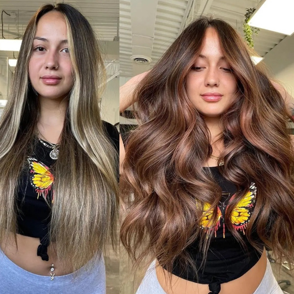 fall 2021 hair color trends copper highlights