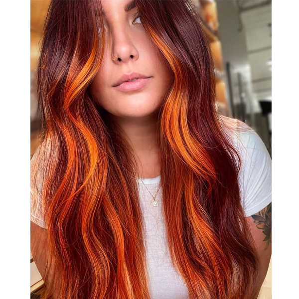 fall 2021 hair color trends bright red