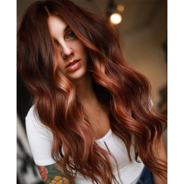fall 2021 hair color trends natural red