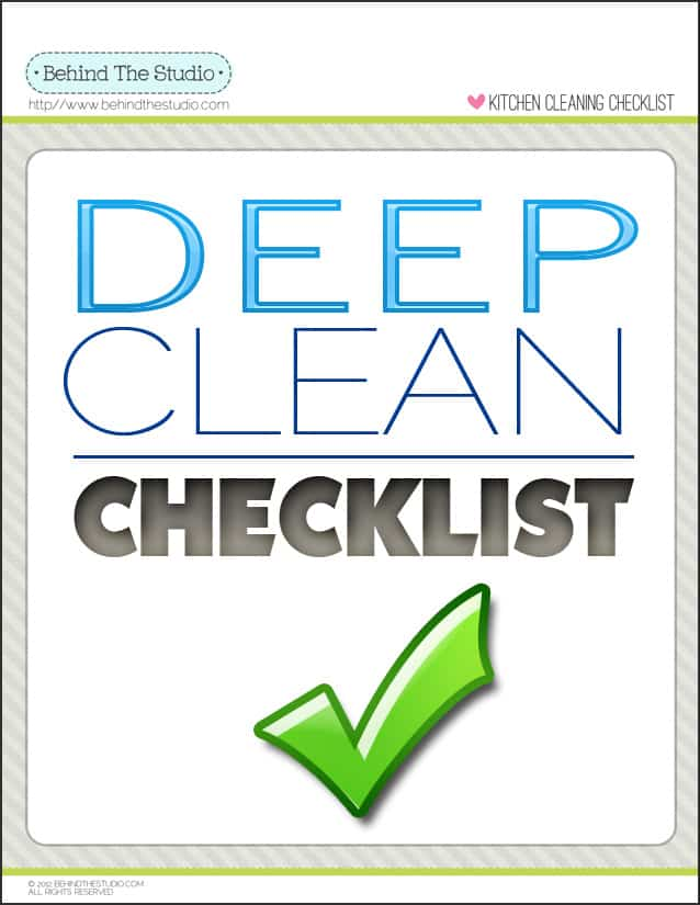 Deep Cleaning Printable Checklist  Behind The Studio