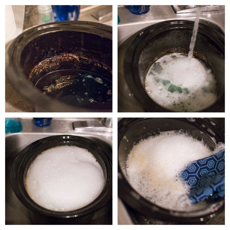 How Scotch-Brite Scrubbing Dish Cloths clean my sticky, crusty crock pot #AD #ScrubCloth