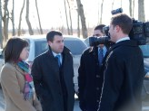Law students speaking to media after Stinson's release from prison